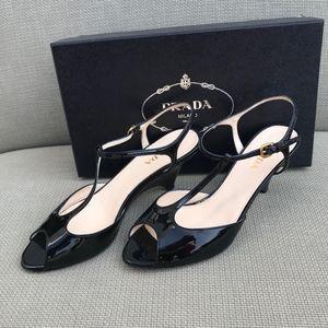 Prada Black Patent t-strap heel